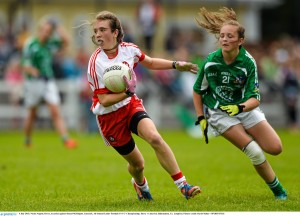 4 July 2015; Nicole Nugent, Derry, in action against Sinead McElligott, Limerick. All Ireland Ladies Football U14 'C' Championship, Derry v Limerick. Ballymahon, Co. Longford. Picture credit: David Maher / SPORTSFILE